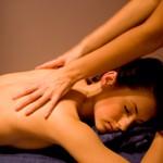 Woman receiving a relaxing back massage.