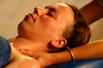 woman receiving neck massage, facial massage