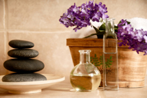 Stones, rocks, oil, spa products, flowers
